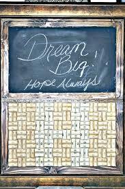 wine cork chalk board made with frame chalkboard paint and corks monogram center diy kit wine cork board