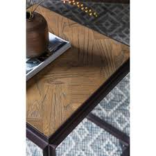 parquet reclaimed elm metal side table