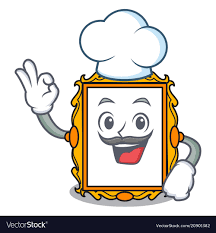 chef picture frame character cartoon vector image