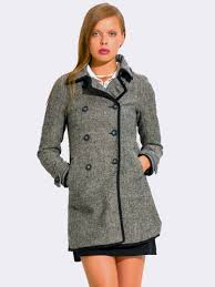 charcoal gray double ted peacoat