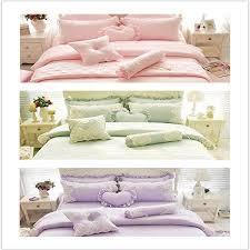 winlife luxurious pink green purple princess girls bedding sets lace ruffled duvet cover set queen 100 cotton comforter sets queen yellow comforter set from
