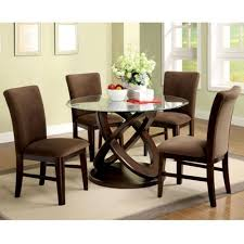 dining table set 799 99 atwood contemporary style round glass top espresso finish