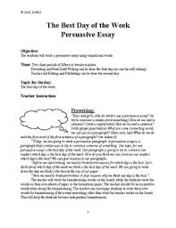 persuasive essay best day of the week by twined tpt persuasive essay best day of the week