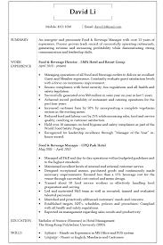 Resume Cv Sample For Food And Beverage Manager Jobsdb