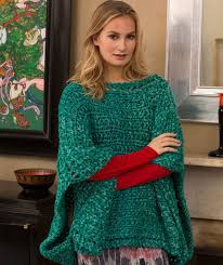 Knit Poncho Pattern Extraordinary Shimmering Jade Knit Poncho AllFreeKnitting
