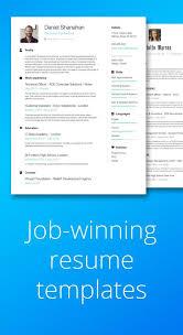 Job Winning Resume Templates Resume Builder Templates Cv