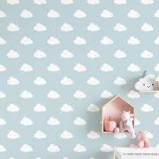 Vliesbehangpapier Wolken Blauwe Achtergrond Blauw Noukies