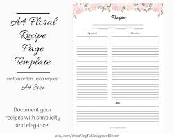 Full Page Recipe Templates A4 Recipe Page Floral Printable Recipe Template Blank Recipe Template Recipe Organization Recipe Storage Ideas Full Page Recipe Card