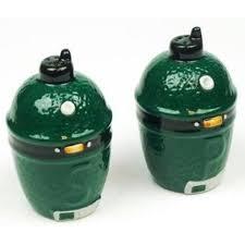 authentic big green egg ceramic salt pepper shakers set