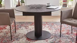 Interliving Esszimmer Serie 5104 Auszugtisch Dunkelgraue Tischplatte Industrial Schwarzes Metallgestell Durchmesser C