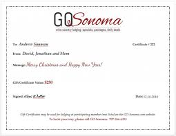 sonoma wine country inns gift certificate