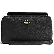 Coach Phone Wallet In Crossgrain Leather Wristlet Gold   Black   F58053 +  Gift Receipt