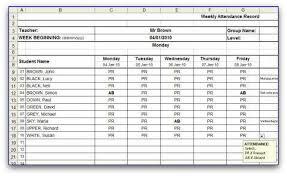 attendance spreadsheet excel weekly attendance sheet