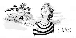 ヤシの木と熱帯のビーチの上を歩く若いおしゃれな女の子ベクトル肖像画の