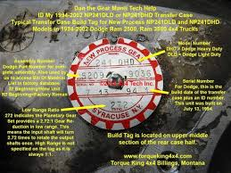 Jeep Transfer Case Identification Chart 1994 1997 Dodge Np241dhd Transfer Case Id