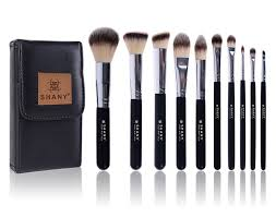 shany ombre pro 10 piece essential brush set with travel pouch black amazon ca beauty