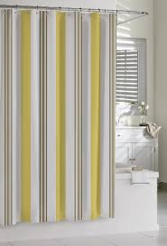 yellow white and grey shower curtain with vanity