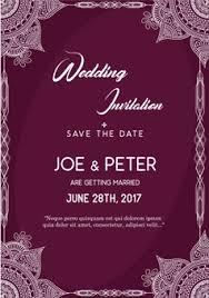 Purple Wedding Invitation Template Vector Free Download