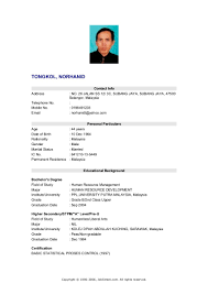 Contoh Resume Resume For Study