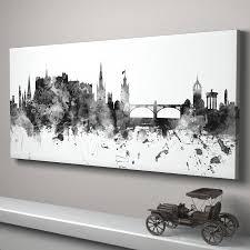 bold design ideas panoramic wall art home decor edinburgh skyline cityscape monochrome print by artpause canvas