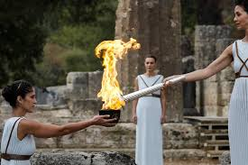 flame lighting olympics. olympics - lighting ceremony of the olympic flame pyeongchang 2018 ancient olympia, greece october 24, 2017 greek actress katerina lehou,