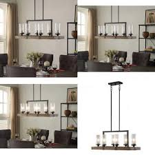 the gray barn vineyard metal and wood 6 light chandelier with seeded glass