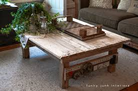 Coffee Table, Junk Styled Pallet Wood Coffee Table By Funky Junk Interiors Coffee  Table Made Out Of Pallets: Inspiring Pallet Coffee Table Plans DIY