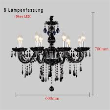 8 Flammig Schwarz Kristall Hängeleuchte Klassisch Kronleuchter Pendelleuchte Deckenleuchte Antik Kristall Lüster E14