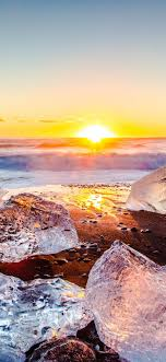 Ice, sea, beach, sunrise, winter ...