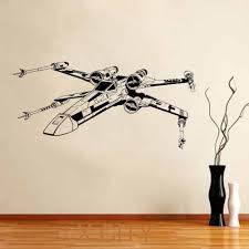 star wars x wing fighter movie vinyl decal wall art sticker home living room door window stencils mural decor 22 in x 46 in in wall stickers from home  on star wars wall art stickers with star wars x wing fighter movie vinyl decal wall art sticker home