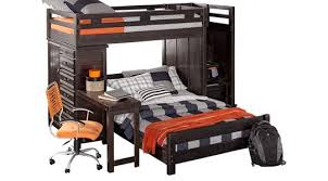 bunk bed with desk. Creekside Charcoal Twin/Full Step Bunk Bed With Desk And Chest