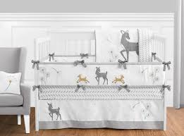 forest deer and dandelion baby bedding 9pc crib set by sweet jojo designs