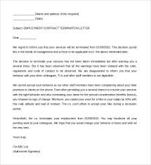 sample employment contract service termination letter template letter of contract cancellation