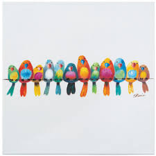 birds on wire canvas wall art