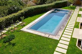 modern pool designs Pool Transitional with decking floating path