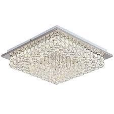 horisun crystal chandelier led ceiling light fixture 4000k dimmable flush mount lighting square