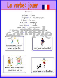 french er verbs expand your french french er verb jouer poster with pronunciation