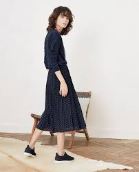 Comptoir Des Cotonniers Size Chart Pleated Skirt With Spots Ring Dots Marine Filoute