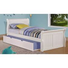 Twin Sleigh Bed with Twin Trundle Bed in White