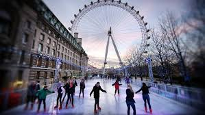 london calling skaters at the ice rink near the london eye