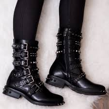 stud and buckle biker boots black leather style
