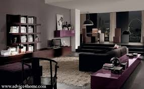 dark gray wall and black sofa and deep brown wall furniture in living room