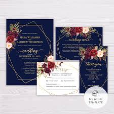 Microsoft Office Wedding Invitation Template Navy Blue With Marsala Flowers Gold Frame Wedding Invitation Suite Template