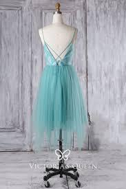 Light Blue Tulle Turquoise Tulle Short Spaghetti Strap Bridesmaid Dress