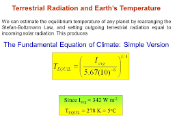 terrestrial radiation and earth s temperature we can estimate the equilibrium temperature of any planet by rearranging