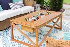 outdoor coffee table with beverage