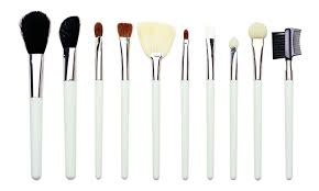 ivory white 10 piece function makeup brush set with eyebrow shaper synthetic hair long wood handle