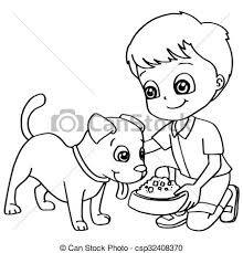 coloring book child feeding dogs ve csp32408370