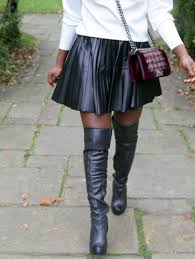chanel knee high boots. knee high zara top, h\u0026m skirt (similar), topshop boots marc by sunglasses, chanel boy