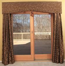 large sliding glass patio doors with window treatment